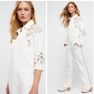 Free People White Denim Jumpsuit Sz XS Embroidered